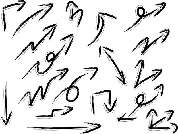 手描き矢印デザイン要素のセット
