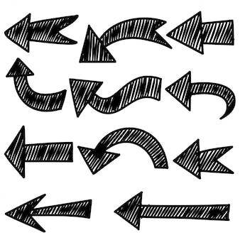 手描きの矢印のセットです。落書きデザイン要素。白いbackground.forビジネスインフォグラフィック、バナー、web、コンセプトデザインのイラスト。