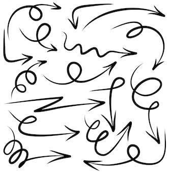 手描きの矢印のセットです。落書きデザイン要素。