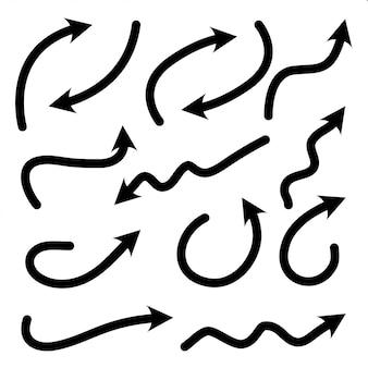 手描きの矢印落書きデザイン要素のセット