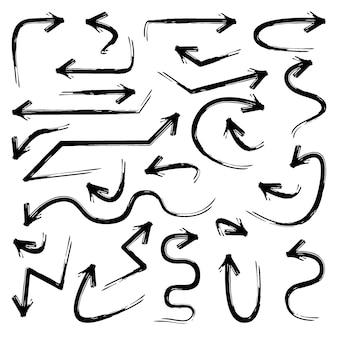 손으로 그린 화살표 낙서 디자인 요소