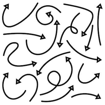 手描きの矢印のセット