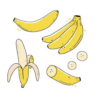 手描きバナナフルーツのセットです。落書きスケッチ線スタイルイラスト