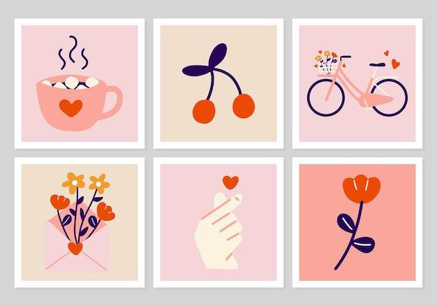 手描き自転車、赤い花、韓国の指のハート、封筒、ホットココアのセットです。