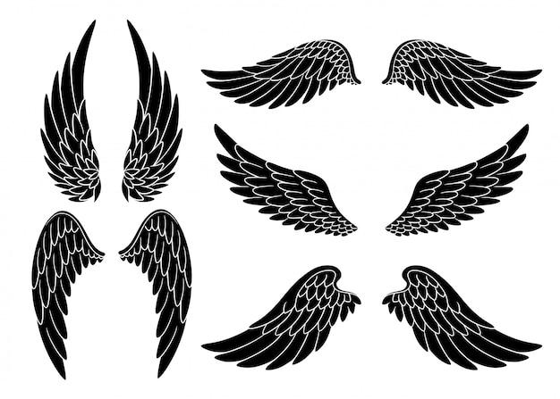 열린 위치에 다른 모양의 손으로 그린 새 또는 천사 날개의 집합입니다. 검은 낙서 날개 세트