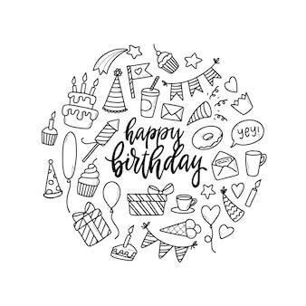 手描きの誕生日の落書きのセット