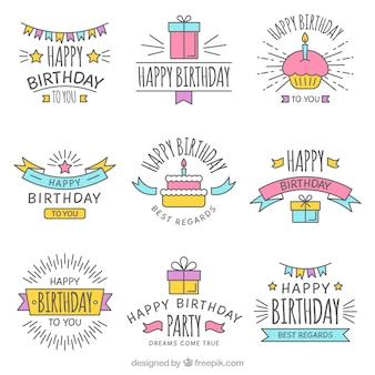 손으로 그린 생일 스티커 세트