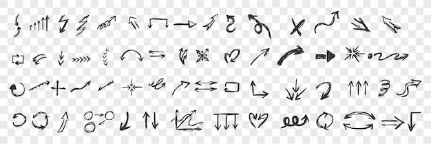 手描きの黒い矢印のセット