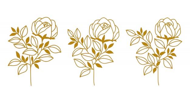 손으로 그린 식물 금 장미 꽃과 잎 요소 집합
