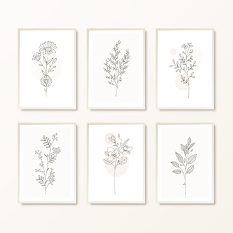 Набор рисованной ботанический декор стен boho wall art