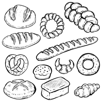 手描きパンイラストのセットです。白パン、パン、ベーグル、クロワッサン。ポスター、包装紙の要素。図