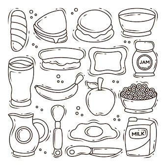 Набор рисованной завтрак мультфильм каракули коллекция окраски