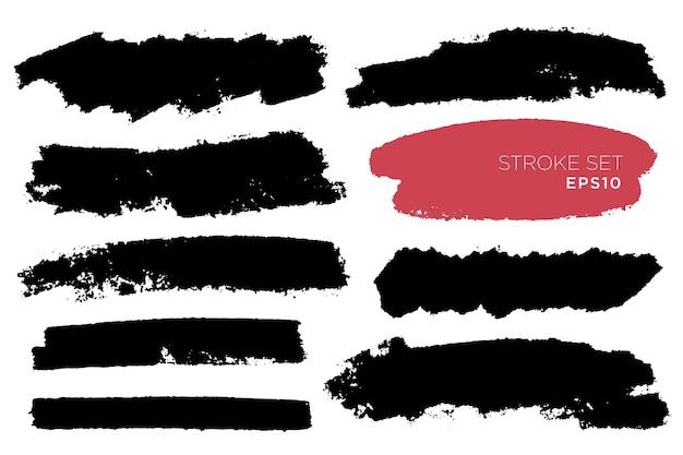 손으로 그린 브러쉬 선, 배경 얼룩의 집합입니다. 단색 요소를 설정합니다. 단색 예술적 손으로 그린 배경을 단색.