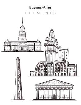 手描きのブエノスアイレスの建物のセット