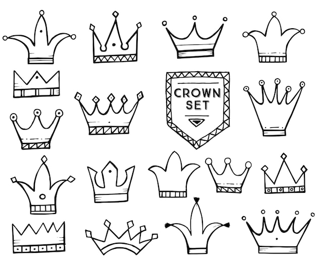 手描きの漫画の王冠のセットです。ベクトルイラスト。白い背景で隔離。