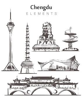 手描きの成都の建物のセット。成都の建物と寺院の要素のスケッチ