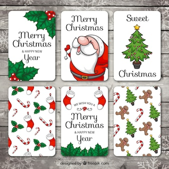 Set of hand drawn christmas and new year cards