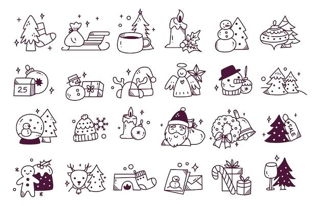 手描きのクリスマス落書きのセット