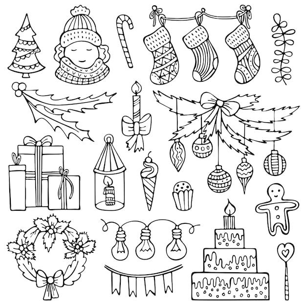 手描きのクリスマス要素のセット