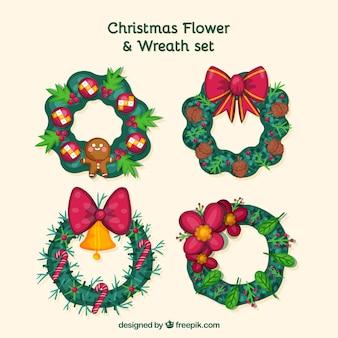 Набор рисованных рождественских цветочных коронок