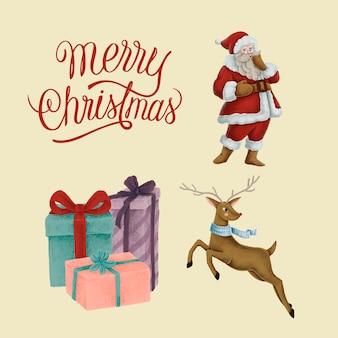 Set of hand drawn Christmas illustrations