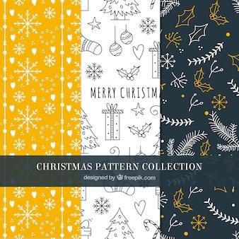 手描きのクリスマスパターンのセット