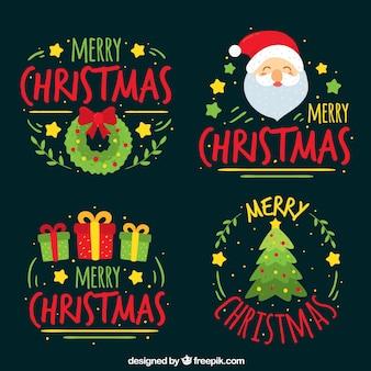 手描きのクリスマスステッカーのセット