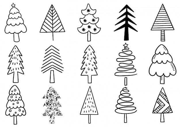 손으로 그린 크리스마스 트리 격리 요소 집합입니다.