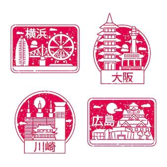 Набор рисованной городских марок