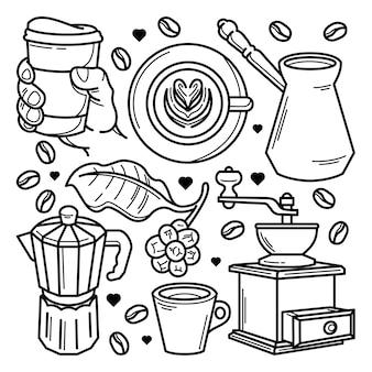 Набор рисованной кофе каракули