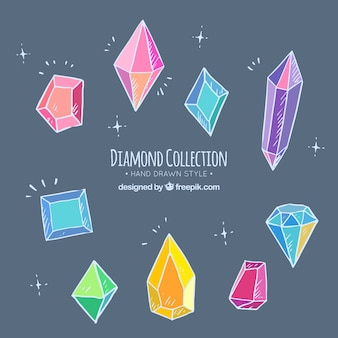 Set of hand-drawn colored diamonds