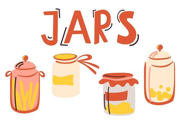 Набор рисованной красочные банку для продуктов, изолированные на белом фоне кухонная утварь