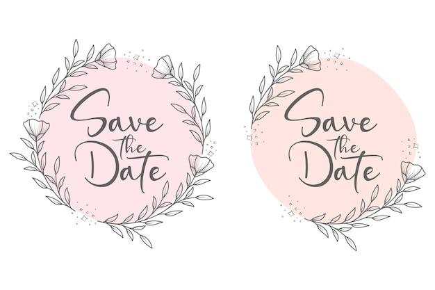 손으로 그린 화려한 최소한의 꽃 결혼식 프레임 및 결혼식 화 환 세트