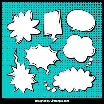 手描きの漫画のスピーチ泡のセット