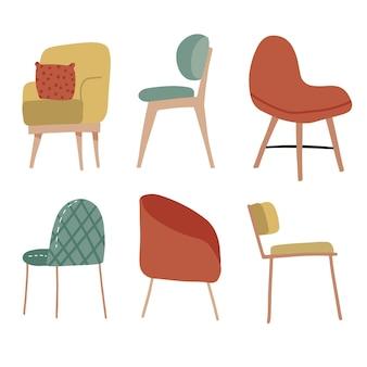 손으로 그린 아늑한 부드러운 의자 컬렉션 스칸디나비아 세트