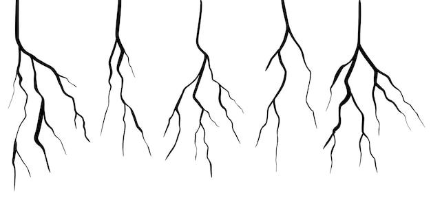 手描きの亀裂のセットは、白い背景で隔離。ベクトルイラスト。