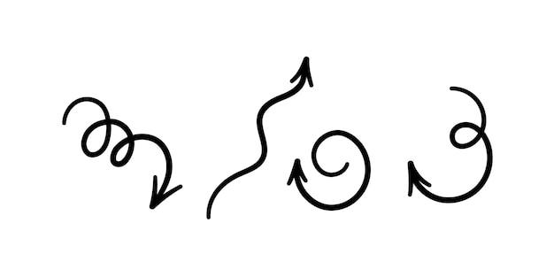 손으로 그린 곡선 화살표 세트입니다. 소용돌이 치는 검은 화살표. 벡터 일러스트 레이 션 흰색 배경에 낙서 스타일에서 격리
