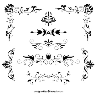 Set of hand drawn decorative floral borders