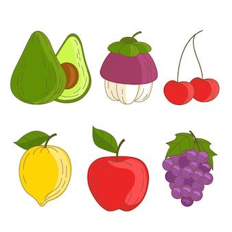 Набор рисованной вкусных фруктов