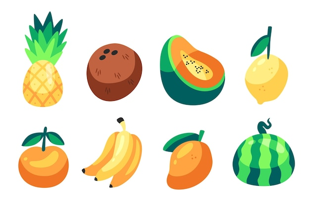 手描きのおいしい果物のセット