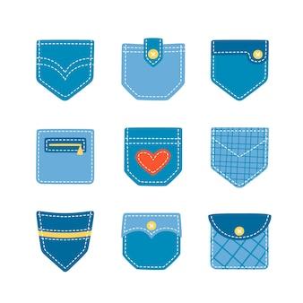Набор нарисованных от руки накладных карманов из денима для брюк и другой одежды