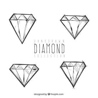 손으로 그린 다이아몬드 세트