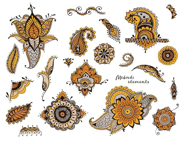 手のセットには、さまざまな一時的な刺青要素が描画されます。定型化された花、花柄、葉、インドのペイズリーコレクション。カラフルな民族イラスト。