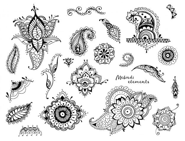 手のセットには、さまざまな一時的な刺青要素が描画されます。定型化された花、葉、インドのペイズリーコレクション。