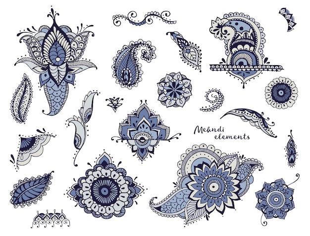Набор рисованной различных элементов менди