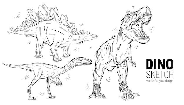 手描きの恐竜のスケッチのセット。ステゴサウルス、ティラノサウルス、デイノニクス