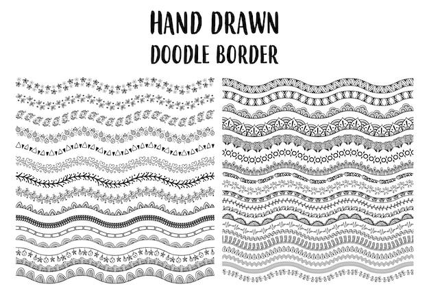ハンドドローイングの境界線を描いたセット