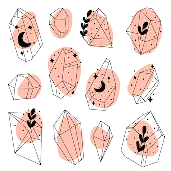 手描き落書きクリスタルのセット石ダイヤモンドとクリスタル宝石石ベクトルセット