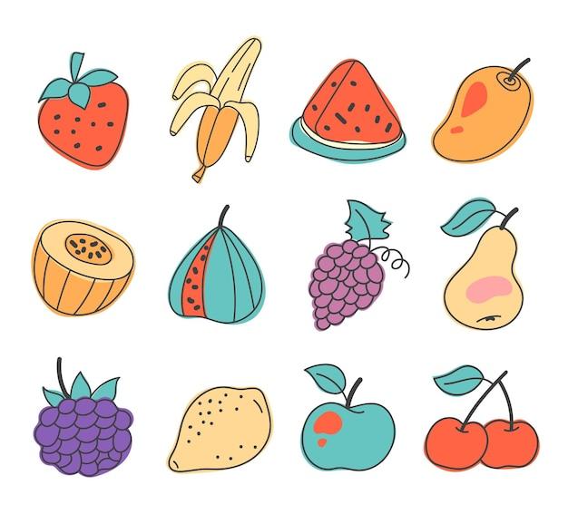 흰색 배경에 고립 된 손으로 그린 낙서 과일과 베리 세트