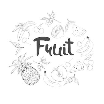 Набор рисованной каракули фруктов. свежая и вкусная еда.